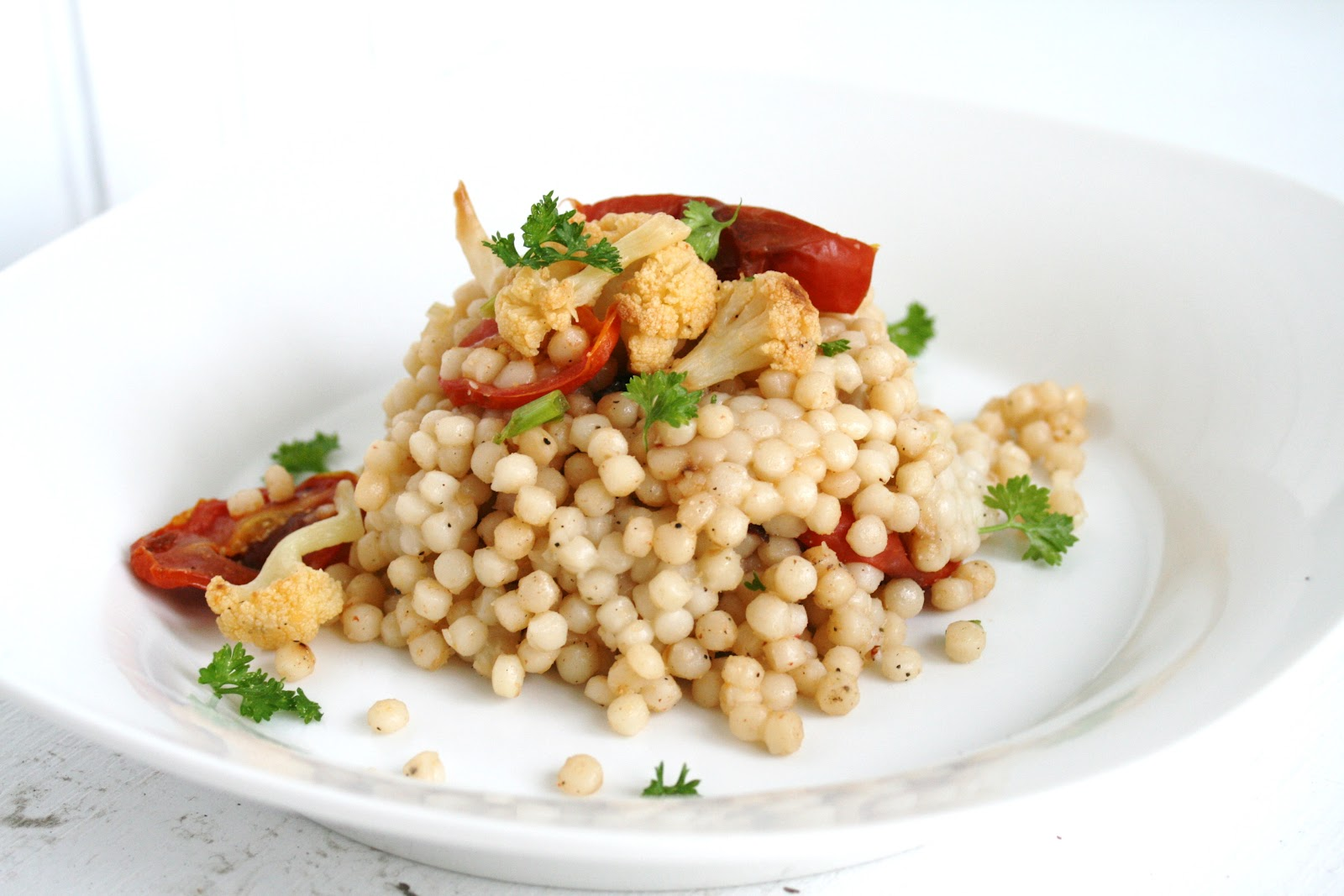 Pearl Couscous with Roasted Cauliflower and Tomatoes