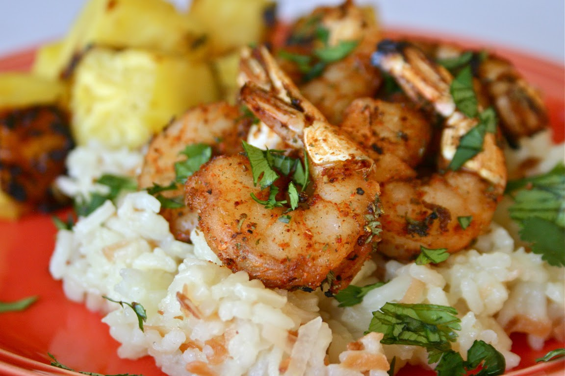Spicy Shrimp with Grilled Pineapple and Coconut Rice Pilaf