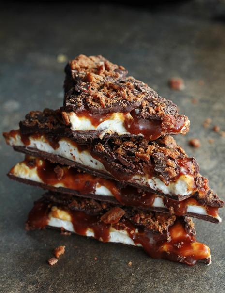 Whiskey Marshmallow and Caramel Bacon Bark