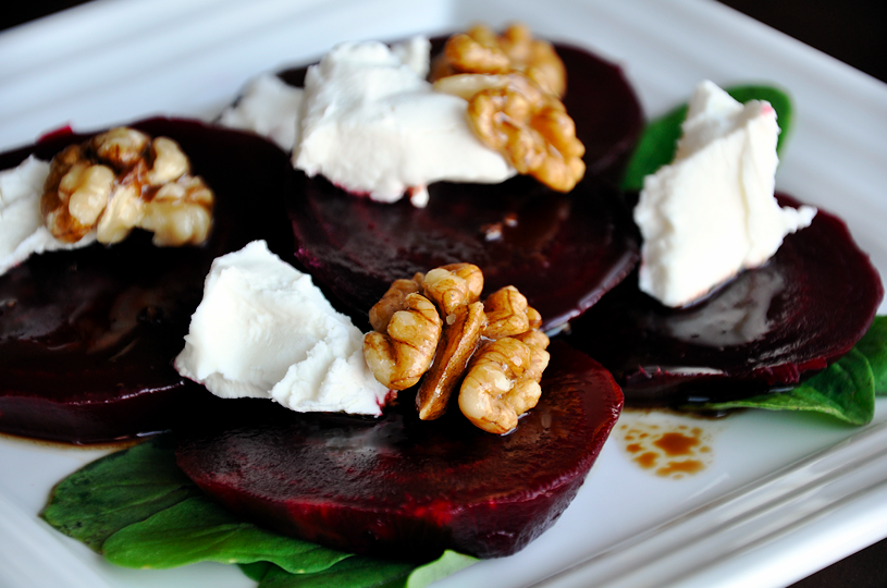 Beet and Goat Cheese Salad with Candied Walnuts