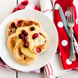 Cranberry-Nutmeg Pancakes with Lemon Curd