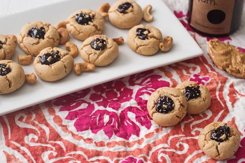 Cashew Butter and Blackberry Jam Thumbprint Cookies