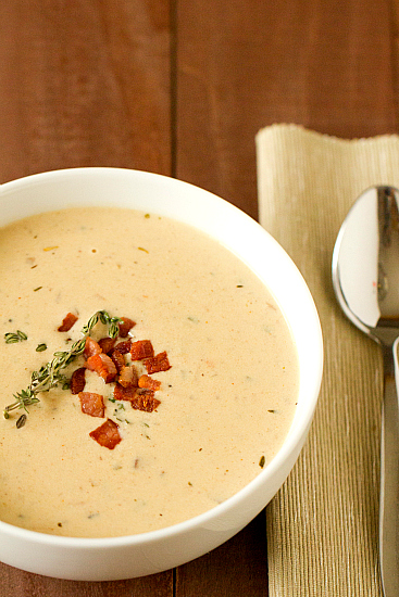 Cheddar and Ale Soup with Potato and Bacon