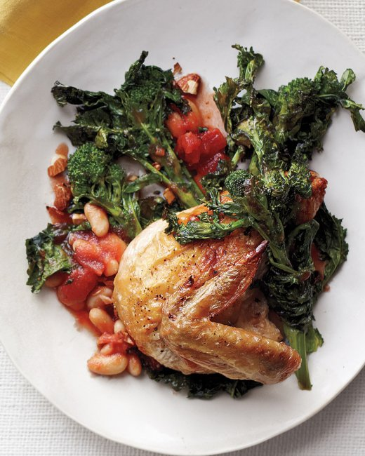 Chicken with Broccoli Rabe, Tomatoes and Beans