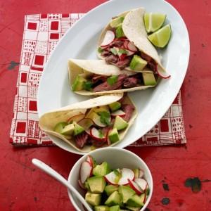 Beef Tacos with Radish and Avocado Salsa