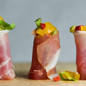 Tuna and Ham Rolls with Tomato Pepper Relish