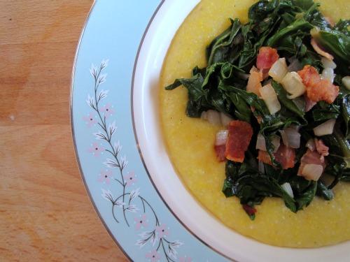 Kale and Green Garlic with Cheesy Polenta