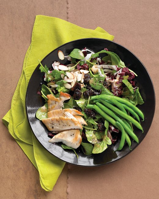 Seared Chicken Salad with Green Beans, Almonds and Dried Cherries