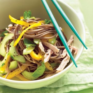 Cold Soba Noodle Salad with Chicken, Peppers and Cucumber