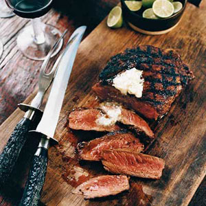 Mexican Spice-Rubbed Ribeyes with Lime Butter
