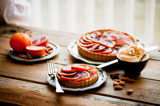 Blood Orange Honey-Glazed Five Spice Tart with Almond Cream