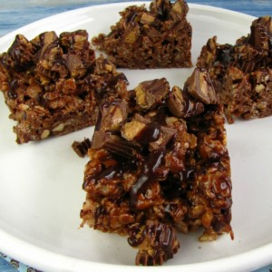 Peanut Butter and Chocolate Rice Krispie Treats