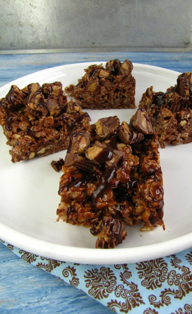 Peanut Butter and Chocolate Rice Krispie Treats