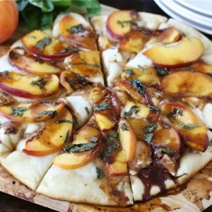 Peach, Basil, Mozzarella and Balsamic Pizza