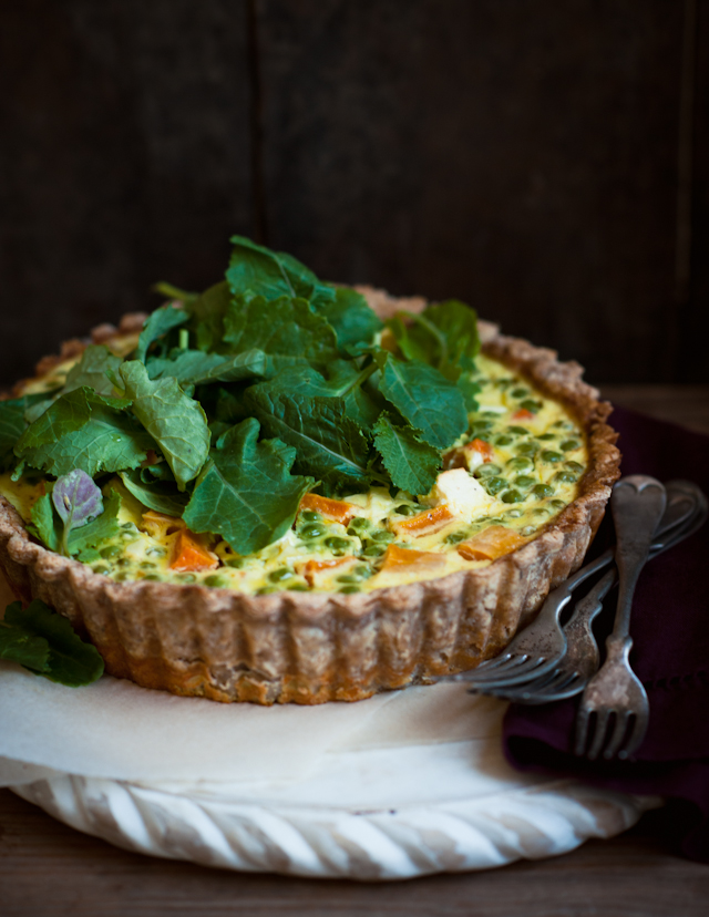 Spring Quiche, with Butternut Squash, Peas and Feta