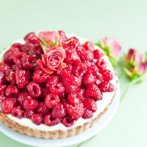 "Raspberry Rose ""Hidden"" Chocolate Tart"