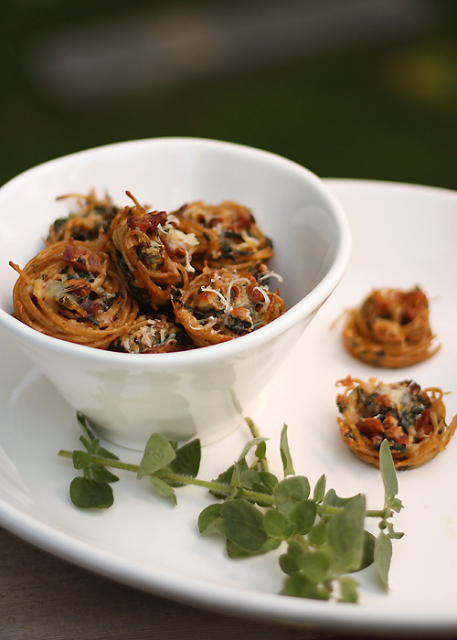 Bite-Sized Spaghetti Nests with Chard and Bacon
