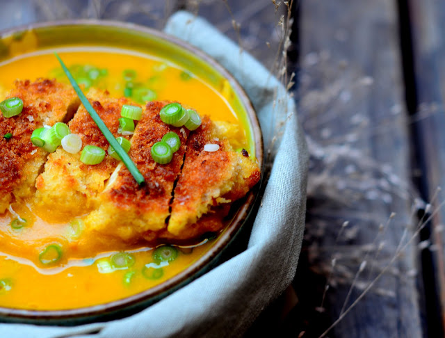 Squash Yogurt Soup with Panko Crusted Chicken
