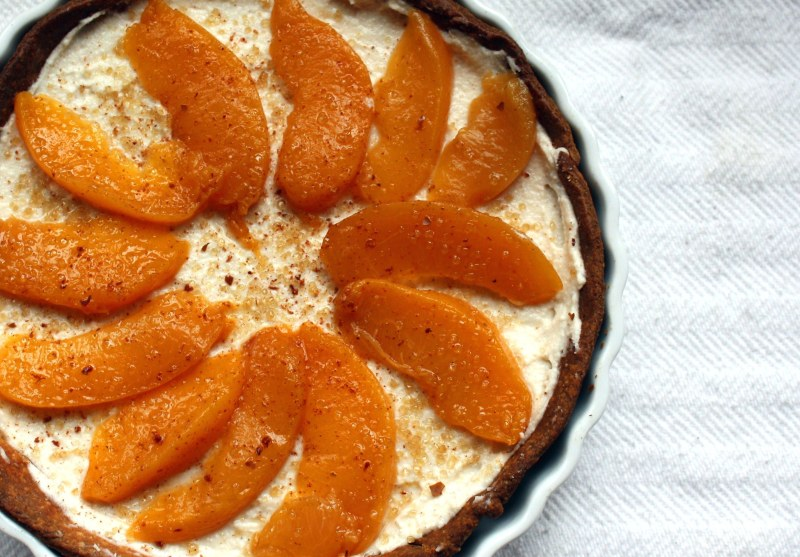 Sweet Ricotta Tart with Honey-Spiced Peaches