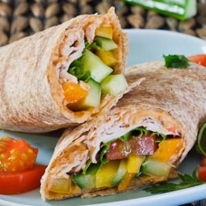 Turkey, Hummus and Veggie Wrap