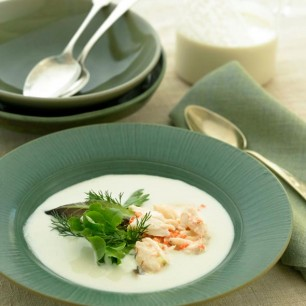 Portuguese White Gazpacho with Crab