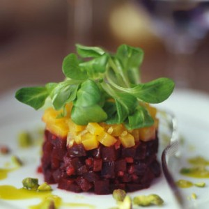 Beet and Goat Cheese Salad with Pistachios