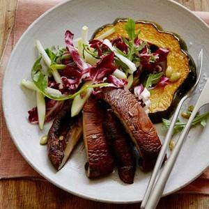 Roasted Acorn Squash and Portobello Mushroom Salad
