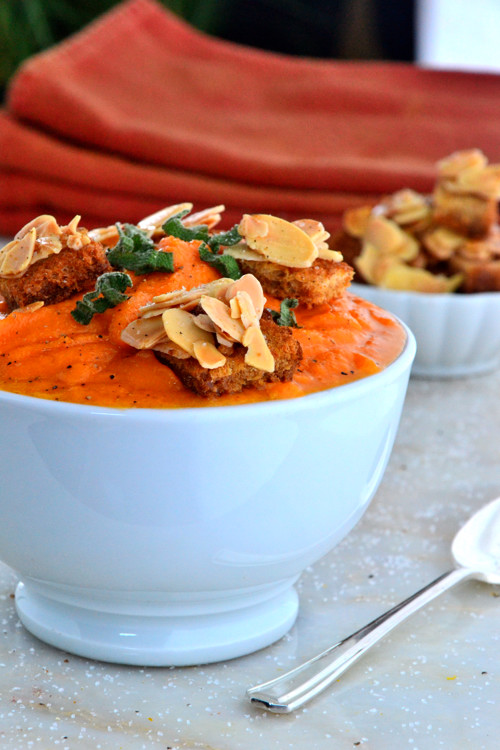 Cream of Carrot Soup with Almond Croutons