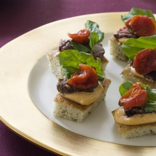 Grilled Beef Tenderloin on Focaccia Toasts