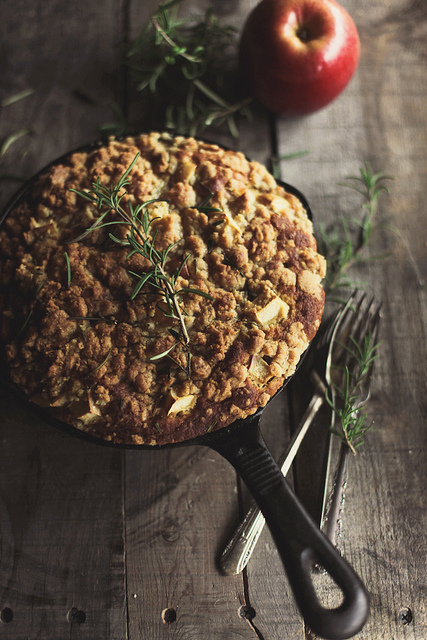Apple Skillet Cake with Rosemary Crumb