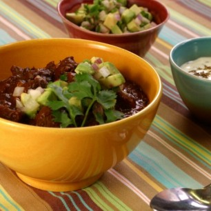 Beef &#038; Black Bean Chili w/ Cumin Crema &#038; Avocado Relish<br>
