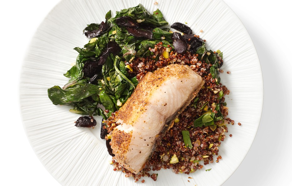 Black Cod with Swiss Chard, Olives and Lemon