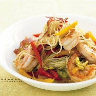 Capellini with Shrimp, Peppers and Salami