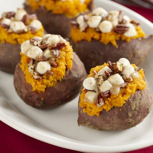 Stuffed Sweet Potatoes with Pecan and Marshmallow Streussel