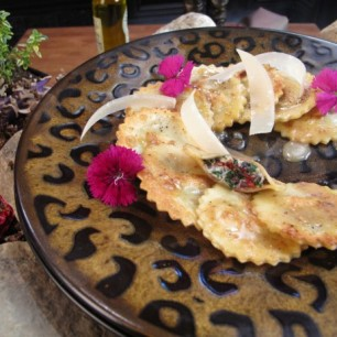 Swiss Chard Mascarpone Ravioli Drizzled w/ Truffle Creme