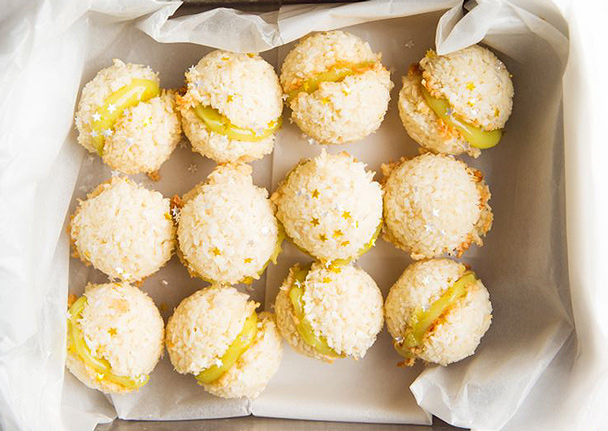 Coconut Macaroon Sandwiches with Lime Curd