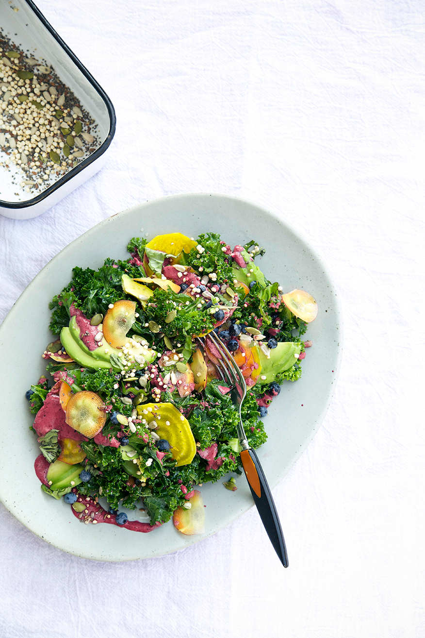 Salad with Kale and Blueberry Ginger Dressing