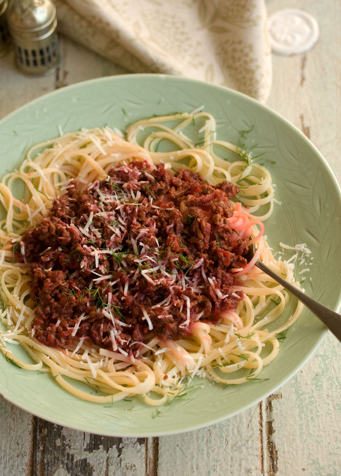 Tequila and Beetroot Bolognese with Linguini