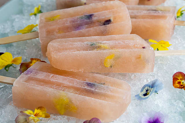 Bellini Popsicles with Edible Flowers