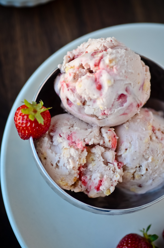 Roasted Strawberry Ice Cream with White Chocolate Milk Crumbs