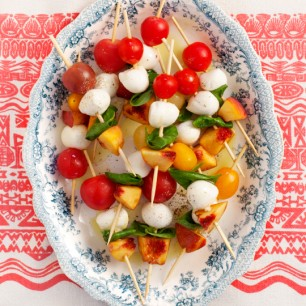 Tomato, Basil and Peach Skewers