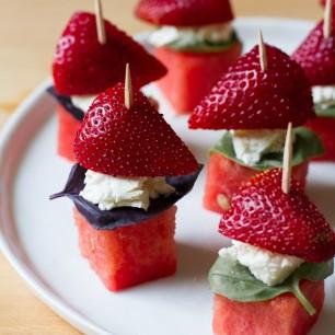 Watermelon, Strawberry, Basil Skewers