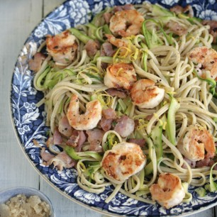 Chilli and Garlic Prawn Linguini with Bacon, Zucchini and Lemon