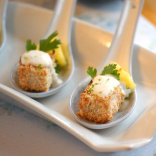 Coconut Crusted Tofu and Pineapple Bites with Creamy Green Curry Sauce