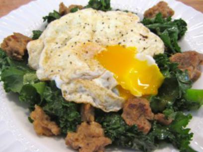 Kale, Veggie Sausage and Egg