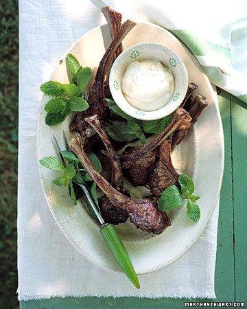 Grilled Lamb Chops with Lemon Yogurt Sauce