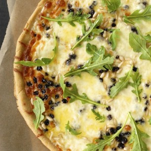 Mozzarella Pizza with Pine Nuts, Currants and Arugula