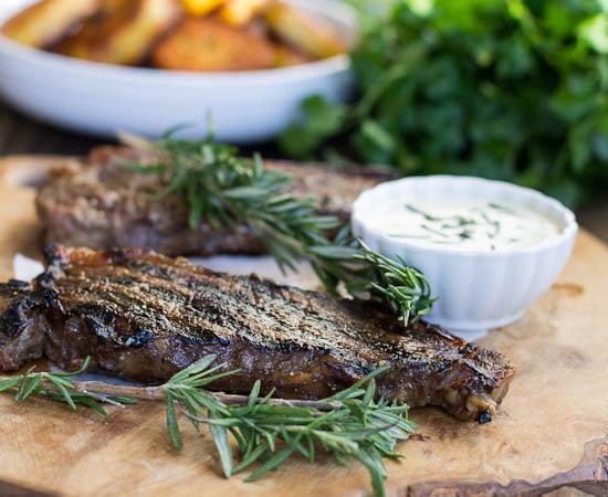 New York Strip Steaks with Horseradish Mustard Sauce