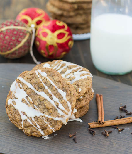 Oatmeal Spice Cookies with Maple Glaze