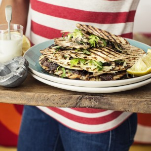 Portobello Mushroom, Cheddar and Caramelised Onion Quesadillas